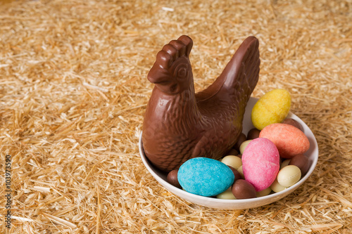 Aluminium Prints Grocery Easter chocolate in a plate