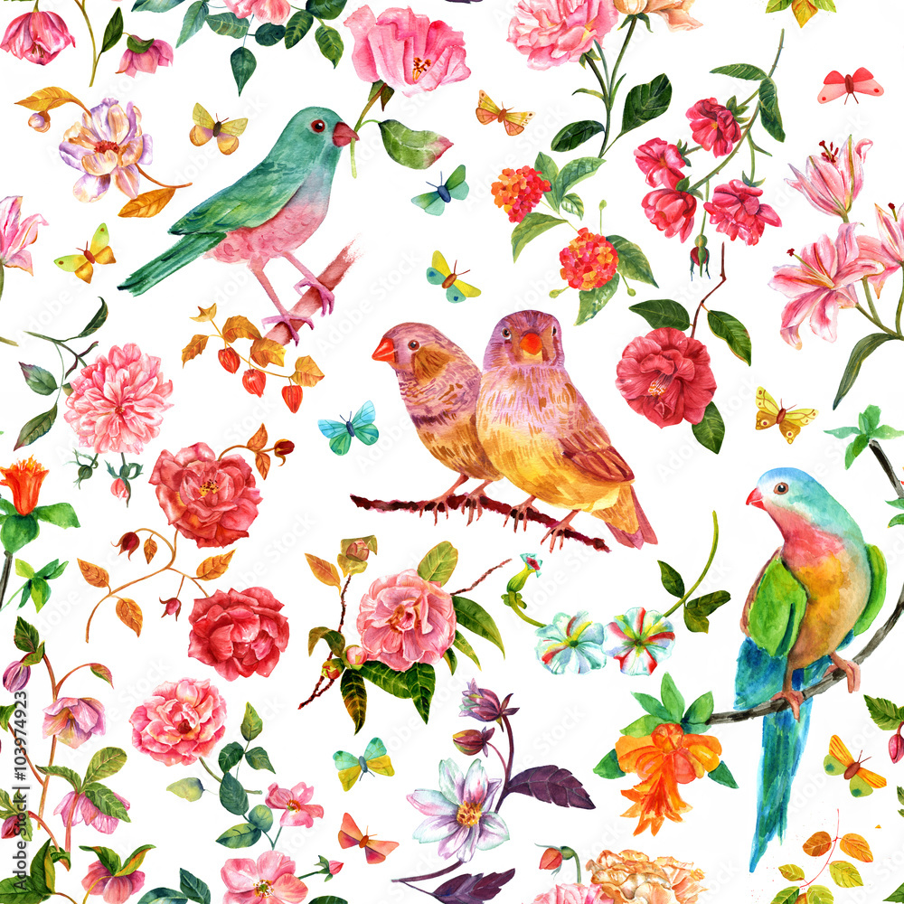 Seamless pattern with vintage style watercolor flowers , birds and butterflies