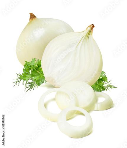 Fototapeta Peeled onion parsley dill isolated on white background obraz
