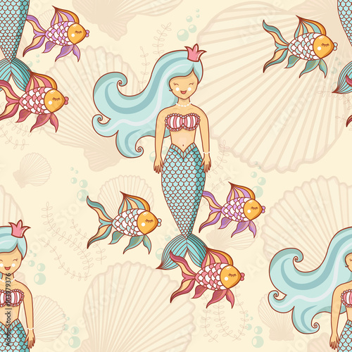 Stickers pour portes Hibou Marine seamless pattern with fish and mermaids
