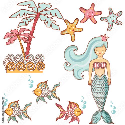 Photo sur Aluminium Hibou Beautiful sea collection of sea animals
