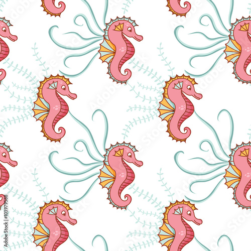 Photo sur Toile Hibou Seamless, sea pattern with sea horses