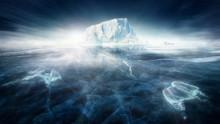 Iceberg In Frozen Icy Landscap...
