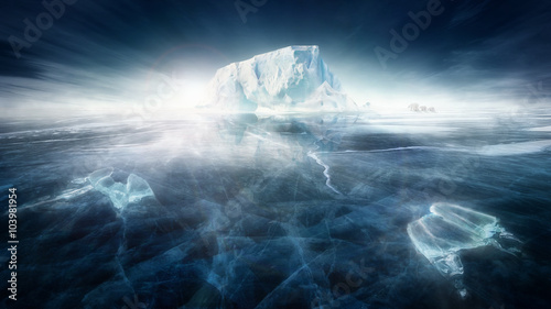 Poster Antarctic Iceberg in frozen icy landscape with polar bears
