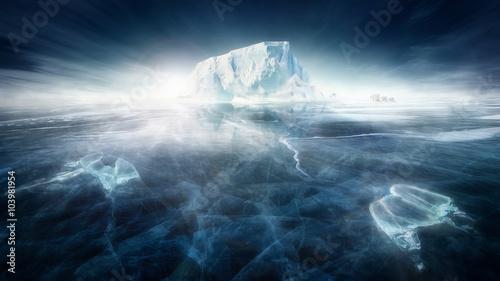 Fototapeta Iceberg in frozen icy landscape with polar bears