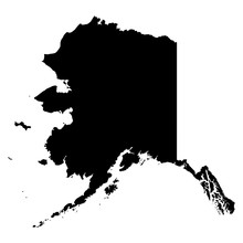 Alaska Map On White Background...