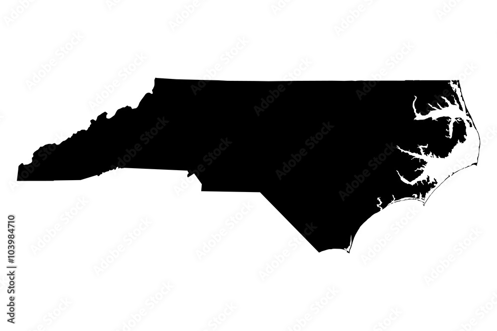 Fototapety, obrazy: North Carolina map on white background vector