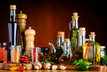 Fototapeta Przyprawy Food Spices, Seasoning and Oil