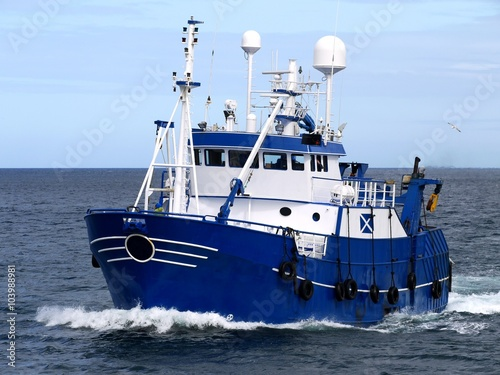 Fishing Vessel 15b, Fishing Vessel underway to harbour to land fish Fototapeta