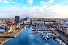ANTWERP, BELGIUM - JAN 4: Aerial View Of Antwerp Port Area With Marina Harbor Form Roof Terrace Museum MAS On January 4, 2015 In The Harbor Of Antwerp, Belgium