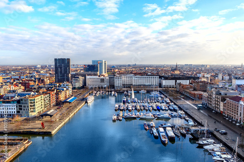 Photo Stands Antwerp ANTWERP, BELGIUM - JAN 4: Aerial view of Antwerp port area with marina harbor form roof terrace museum MAS on January 4, 2015 in the harbor of Antwerp, Belgium