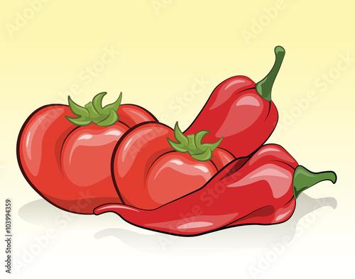 pomidory-i-czerwona-papryka-wektorowa-grafika