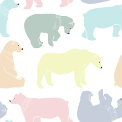 Tapeta Bears pattern in vector.
