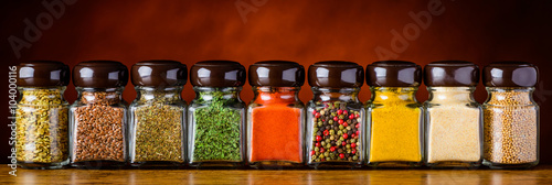 Garden Poster Spices Glasses of Cooking Spices and Seeds