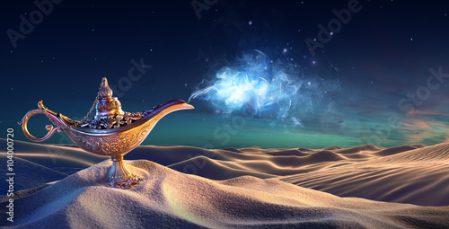 Fotografia  Lamp of Wishes In The Desert - Genie Coming Out Of The Bottle