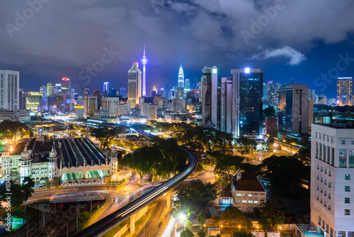 Foto op Canvas Brazilië Kuala Lumpur City Skyline at Night