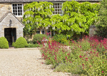 Traditional English Cottage Courtyard With Gravel Driveway, Stone Mushroom, Colourful Garden Flower. Charming Stone House Is Surrounded By White Wisteria