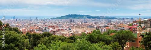 plakat Panorama City View of Barcelona