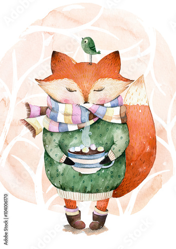 cute little fox just like to drink hot coffeewatercolor illustrationfox and bird