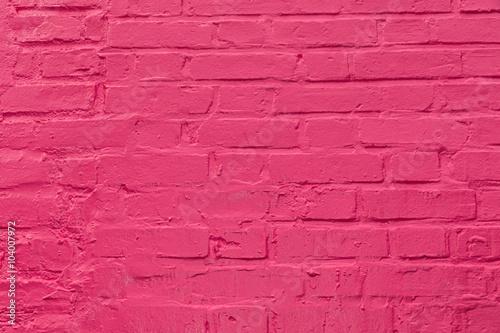 Fotografie, Obraz  Pared con ladrillos pintados de  color rosa.