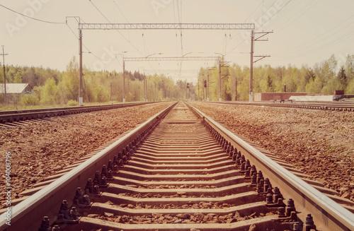 Poster Voies ferrées Railroad. Photo toned in vintage style