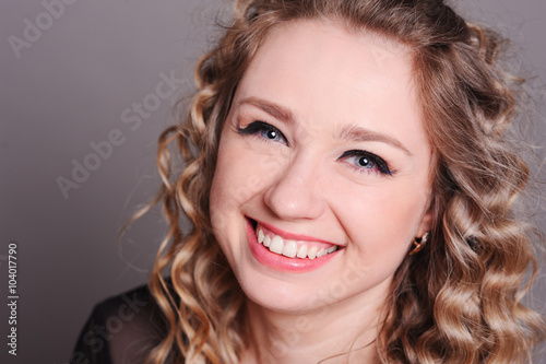 Laughing Young Woman Close Up Beautiful Girl 20 25 Year Old Smiling