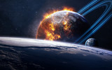 Fototapeta Fototapety kosmos - Universe scene with planets, stars and galaxies in outer space showing the beauty of space exploration. Elements furnished by NASA