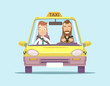 Taxi car and taxi driver with passenger. Vector flat illustration