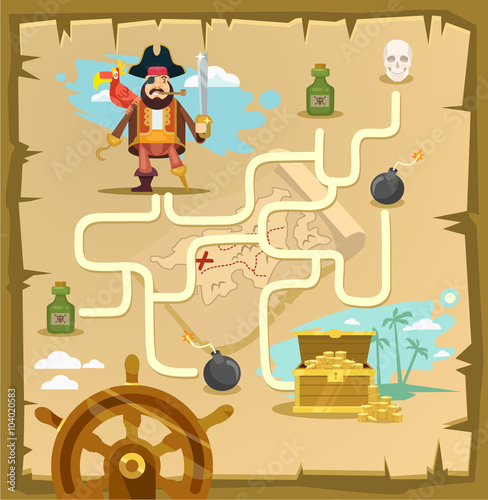 Foto op Canvas Op straat Pirate maze. Labyrinth game. Vector cartoon illustration