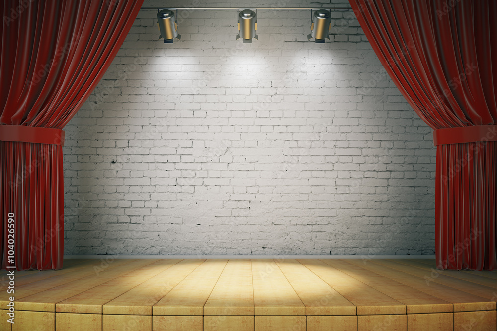 Fototapeta Wooden stage with red curtains and a white brick wall with spotl