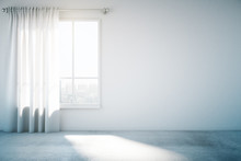 Blank White Wall With Window And Concrete Floor, Mock Up, 3d Ren
