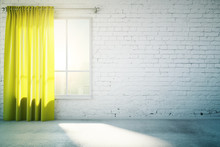 Blank White Wall With Yellow Curtain And Concrete Floor, Mock Up