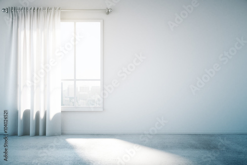 Fotografie, Obraz  Blank white wall with window and concrete floor, mock up, 3d ren