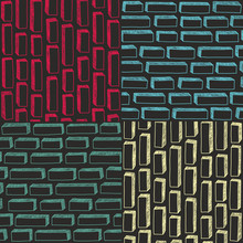 Set Of Colorful Simple Patterns With Bricks In Doodle Stile.