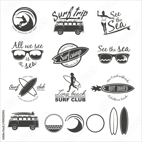 Photo  Surfer vector set.