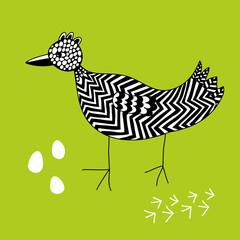 Fototapeta Ptaki Creative ink drawn bird.