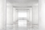 Fototapeta Do przedpokoju - Empty room with concrete walls, concrete floor and big window, 3