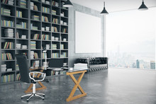 Blank Poster In Loft Private Office With Book Case, Leather Sofa