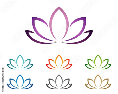 Purple Lotus or Lily Flower for Spa Logo Template 2 Tableau sur Toile
