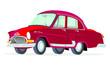 Caricatura GAZ Volga M21 rojo vista frontal y lateral