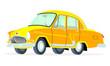 Caricatura GAZ Volga M21 amarillo vista frontal y lateral