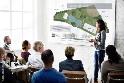 Fotografie, Tablou Public Park Layout Map Information Concept