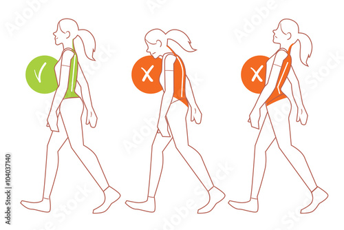 Fotografía  Correct spine posture. Position of body when walking.