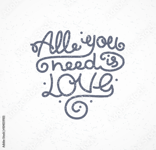 Photo  All You Need is Love Background Placard Card. Vector
