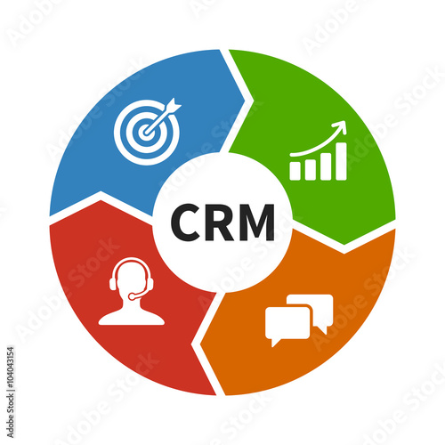 Crm Customer Relationship Management Flat Color Icon For Apps And