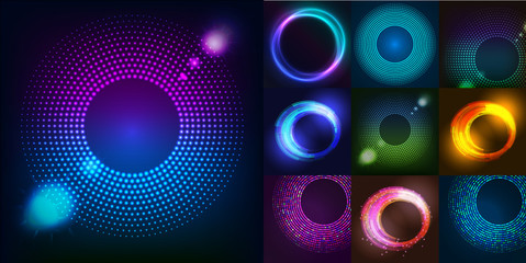 FototapetaHuge set of glowing rounds with glitter. Abstract colored shape for your business idea. Vector editable logo background illustration.