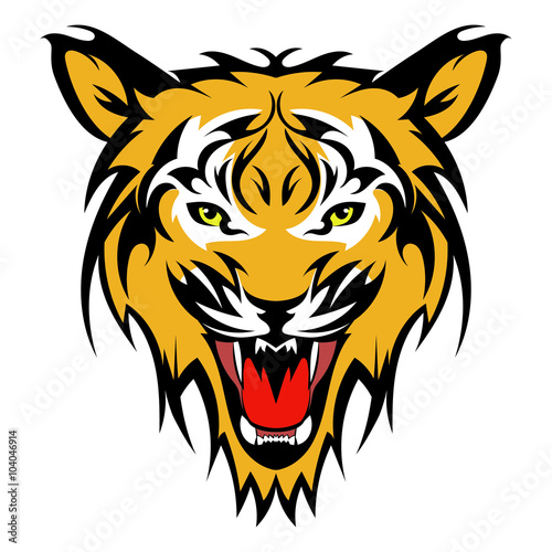 060128848 Beautiful tiger tattoo.Vector tiger's head as a design element on isolated  background