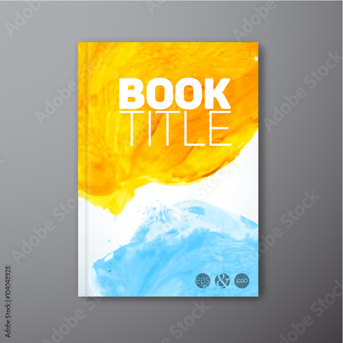 Vector abstract book watercolor cover template Poster