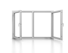Open Plastic Window Isolated With Reflection