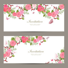 Lovely Collection Horizontal Banners With Vintage Floral Pattern